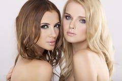 Zwei Freundinnen - blond und Brunette Lizenzfreie Stockfotografie