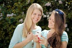Zwei Freundinnen blond und Brunette mit intelligentem Lizenzfreie Stockfotos