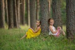 Zwei Freundinnen, die das Sitzen im Kiefernwald aufwerfen Stockfotografie