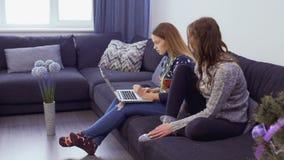 Zwei Freundinnen wählt Weihnachtsgeschenke im Internet-Speicher stock video