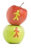 Zwei frische Äpfel Stockfotos