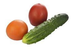 Zwei frische Tomaten und Gurke lokalisiert auf Weiß Stockbilder