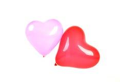 Zwei geformte Ballone der Herzen Stockfotografie