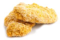 Zwei gefrorenes Brot zerkrümelte Hühnerstreifen Stockbild