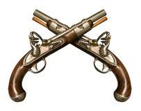 Zwei gekreuzte Flintlock-Pistolen Lizenzfreies Stockfoto