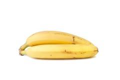 Zwei gelbe Bananen getrennt auf Weiß lizenzfreie stockfotos