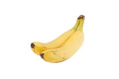 Zwei gelbe Bananen getrennt auf Weiß lizenzfreies stockfoto