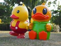 Zwei gelbe Enten in Udon Thani Thailand lizenzfreie stockfotografie