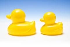 Zwei gelbe Gummienten Lizenzfreie Stockfotos