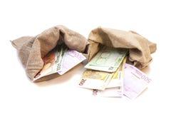 Zwei Geldtaschen mit Euro Lizenzfreies Stockfoto