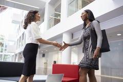 Zwei Geschäftsfrauen, die Hände in der Lobby des modernen Büros rütteln stockbilder