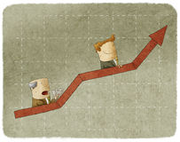 Zwei Geschäftsleute, die in Diagrammrolltreppe steigen stock abbildung