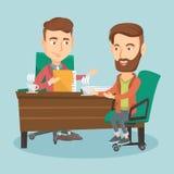 Zwei Geschäftsleute während des Geschäftstreffens stock abbildung