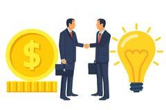 Zwei Geschäftsmänner auf dem Abkommen rütteln Hände vektor abbildung