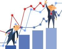 Zwei Geschäftsmänner Diagramme Stockbilder