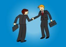 Zwei Geschäftsmänner, die Hände rütteln Stockbild