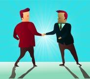 Zwei Geschäftsmänner, die Hände rütteln, wie sie eine Partnerschaftsvereinbarung unterzeichnen Stockfotos