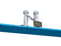 Zwei Geschäftsmänner machen ein Abkommen auf einer Puzzlespielbrücke vektor abbildung