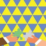 Zwei Geschäftsmann-Hände, die bunte Stücke des Puzzlen halten, sind im Begriff, die Fliesen ineinanderzugreifen Kreativer Hinterg lizenzfreie abbildung