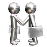 Zwei Geschäftsmannabbildungen, die ein Abkommen bilden Stockbilder