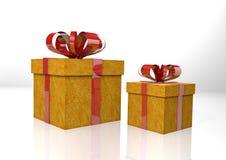 Zwei Geschenkboxen mit rotem Band Stockfotografie