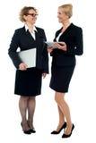 Zwei Geschäftsfrauen, die Geschäft behandeln Lizenzfreie Stockbilder