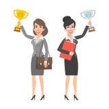 Zwei Geschäftsfrauen, die Schale und das Lächeln halten Stockbild