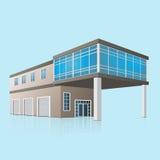 Zwei-Geschossautoservice mit Büros in der Perspektive Lizenzfreie Stockfotografie