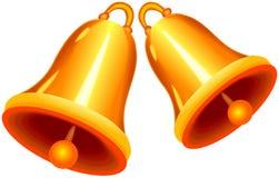 Zwei glänzende goldene Glocken Lizenzfreies Stockfoto