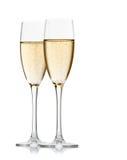 Zwei Gläser Champagner auf einem weißen backgr Lizenzfreies Stockbild