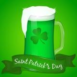 Zwei Gläser grünes Bier für St- Patrick` s Tag mit Band Hintergrund für St- Patrick` s Tag in der Karikaturart Vektor illustrat Stockfoto