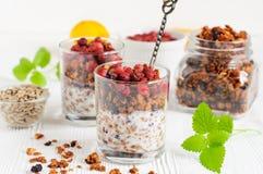 Zwei Gläser Granola mit Jogurt Lizenzfreies Stockfoto