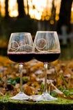 Zwei Gläser mit Rotwein stockfoto