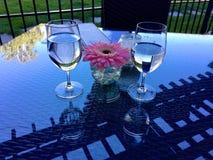 Zwei Gläser mit Wasser und einer Blume auf dem Tisch Lizenzfreie Stockfotografie