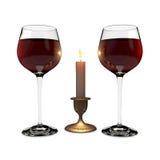 Zwei Gläser und Kerze Lizenzfreies Stockfoto