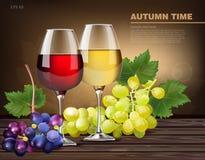 Zwei Gläser von Wein und Traubenrebevektor realistisch lizenzfreie abbildung