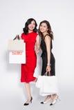 Zwei glückliche attraktive junge Frauen mit Einkaufstaschen auf weißem BAC Stockbild