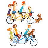 Zwei glückliche Familien, die auf Tandemfahrräder mit drei Sitzen und Korb fahren Parentingkonzept Erholung mit Kindern stock abbildung
