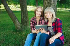 Zwei glückliche Freunde, die Medieninhalt online in einem Laptop sitzt auf dem Gras in einem Park suchen lizenzfreies stockbild