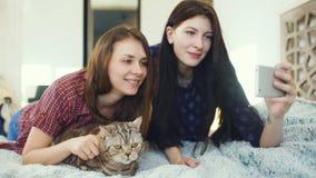 Zwei glückliche Freundinnen, die im Bett liegen und selfie mit Katze machen und haben Spaß auf Bett zu Hause stock footage