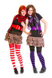 Zwei glückliche Freundinnen, die zusammen stehen Stockfotografie