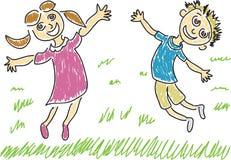 Zwei glückliche Kinder Lizenzfreies Stockbild