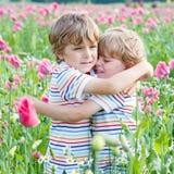 Zwei glückliche kleine blonde Kinder auf dem blühenden Mohnblumengebiet Stockbild