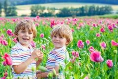 Zwei glückliche kleine blonde Kinder in blühender Mohnblume Lizenzfreies Stockbild