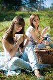 Zwei glückliche Mädchen auf trinkendem Tee des Picknicks Stockfoto