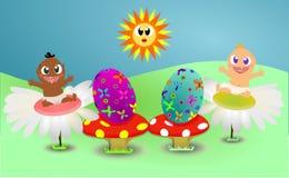 Zwei glückliche Schätzchen auf Ostern stock abbildung