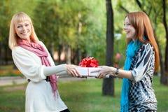 Zwei glückliche Schwestern mit Geschenk im Park Lizenzfreie Stockbilder