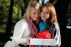 Zwei glückliche Schwestern mit Geschenk im Park Lizenzfreie Stockfotografie