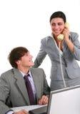 Zwei glückliches junges Geschäfts-Personen-Arbeiten Stockfotos