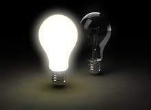 Zwei Glühlampen Stockbild